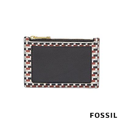 FOSSIL Shelby 防潑水系列拉鍊卡片夾-千鳥格