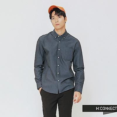 H:CONNECT 韓國品牌 男裝-簡約鈕扣造型牛津襯衫-藍