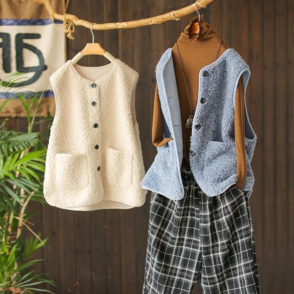 軟糯羊羔毛背心馬夾韓版外搭無袖馬甲四色可選-設計所在