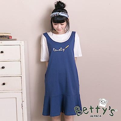 betty's貝蒂思 可愛Lovely鉛筆繪圖假兩件式洋裝(藍色)