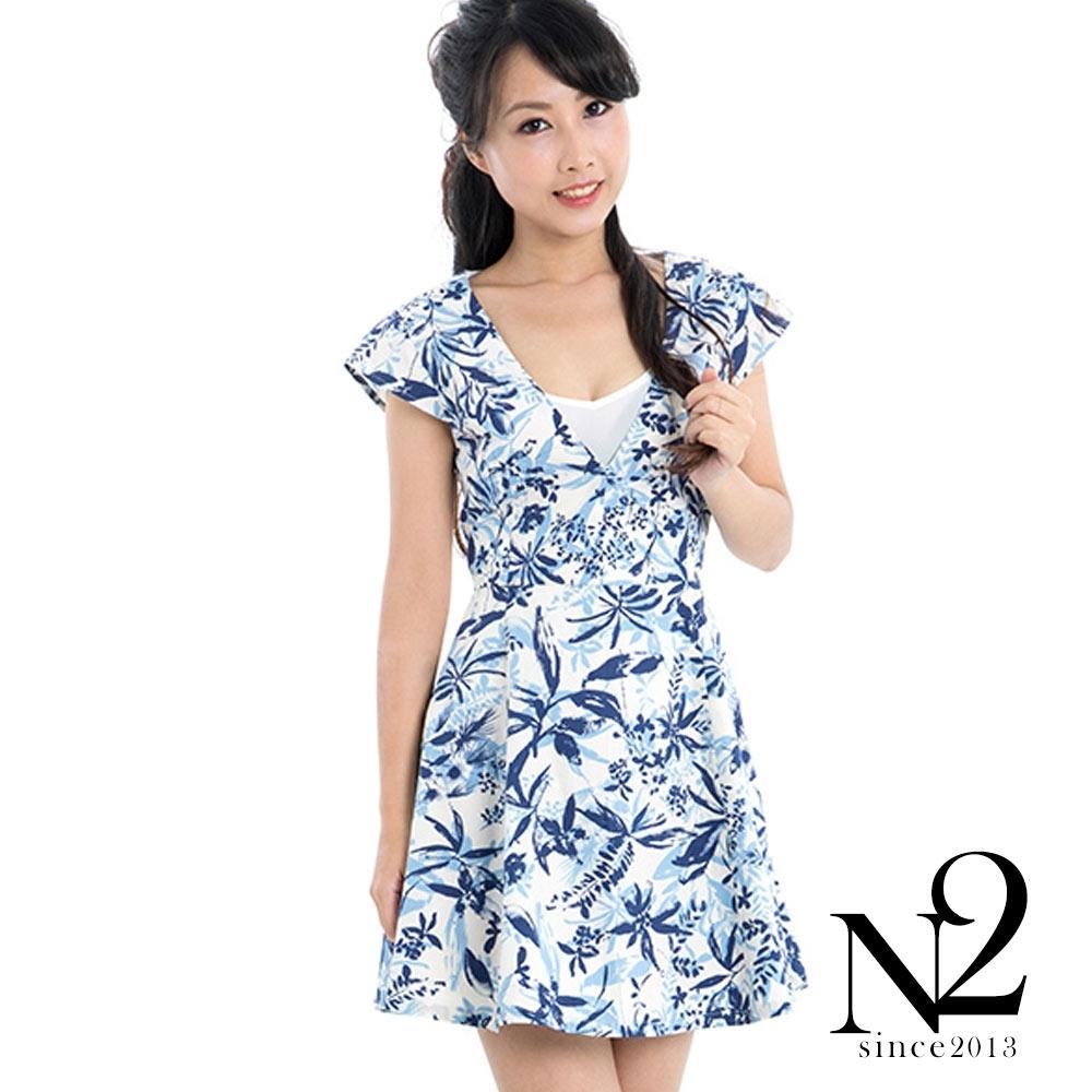 洋裝 南洋印花深V顯瘦剪裁短版洋裝 (藍色) N2
