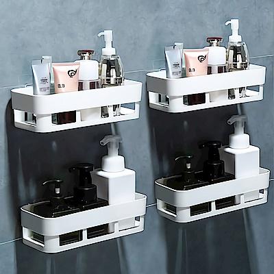 (2入組)STICK 廚房浴室無痕收納置物架(免鑽牆鑽孔 透明防水背膠) [限時下殺]