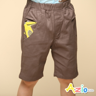 Azio Kids 男童 短褲 造型口袋動物貼布休閒短褲(深卡其)