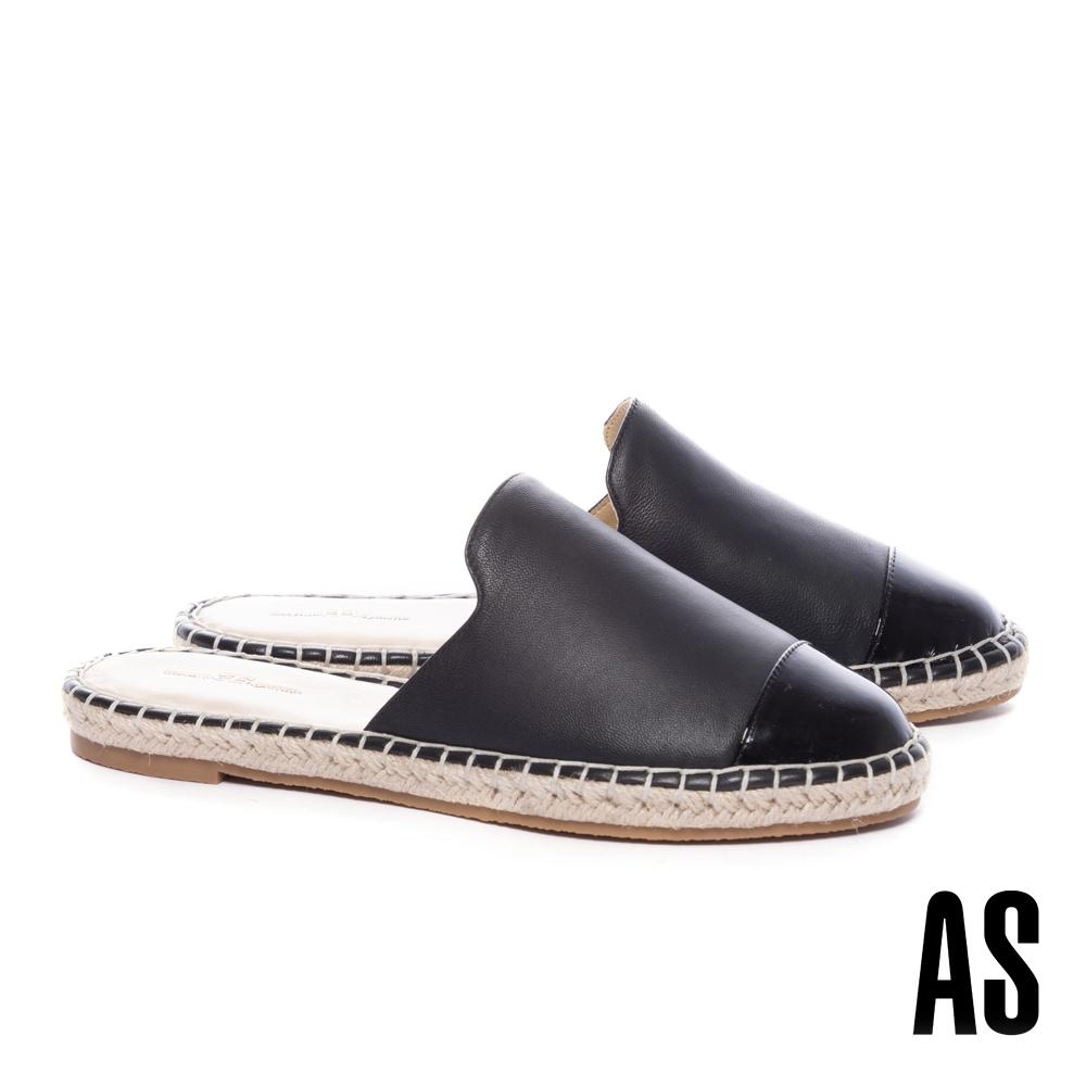 穆勒鞋 AS 率性舒適全真皮撞色拼接草編厚底穆勒拖鞋-黑