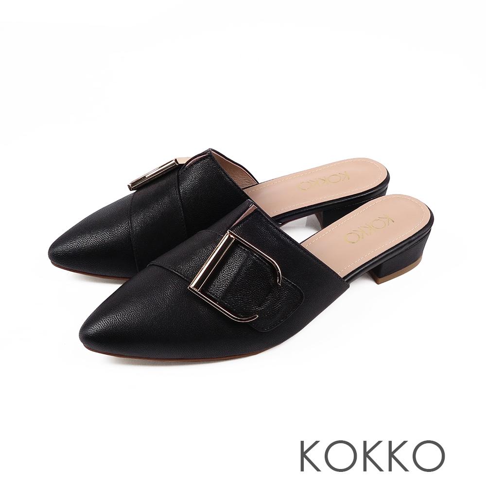 KOKKO - 時髦做自己尖頭穆勒羊皮平底鞋-經典黑