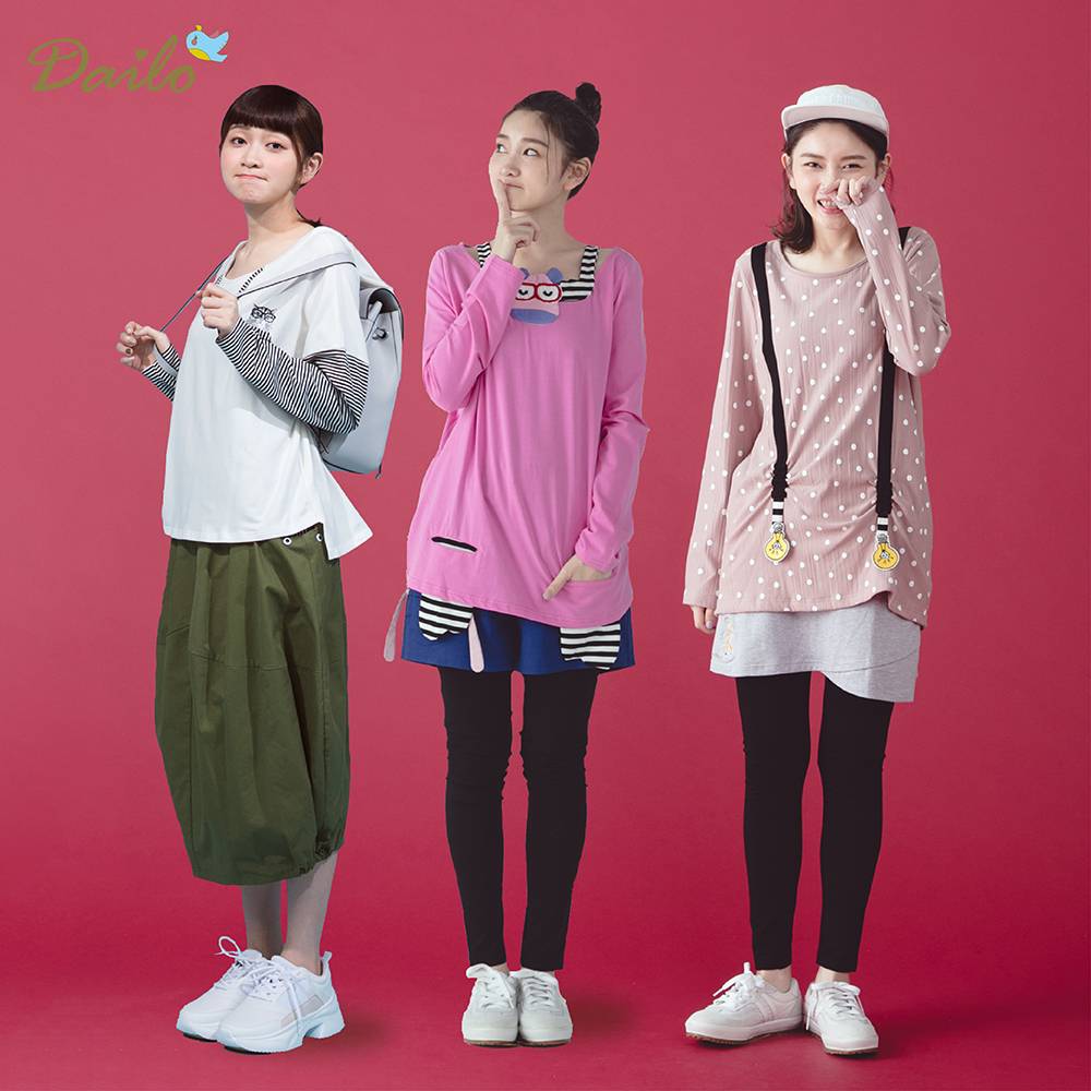 【Dailo】棉質造型雅虎獨家-上衣(均價/A吊帶款/B造型款/C學院款/D條紋款/E拚色款)