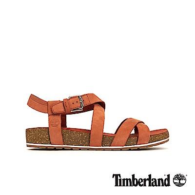 Timberland 女款鐵鏽紅磨砂革交叉繫帶涼鞋|A1XX4