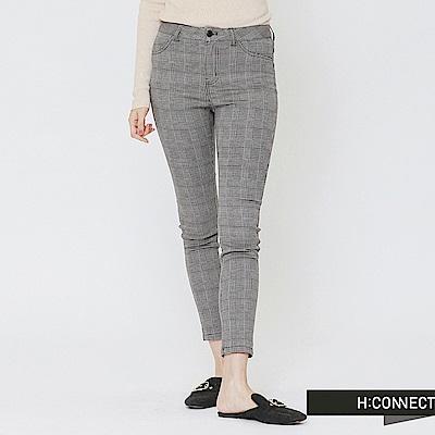 H:CONNECT 韓國品牌 女裝-細格紋口袋造型長褲-棕