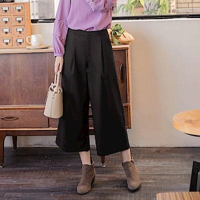 打褶設計純色毛料寬版褲-OB大尺碼
