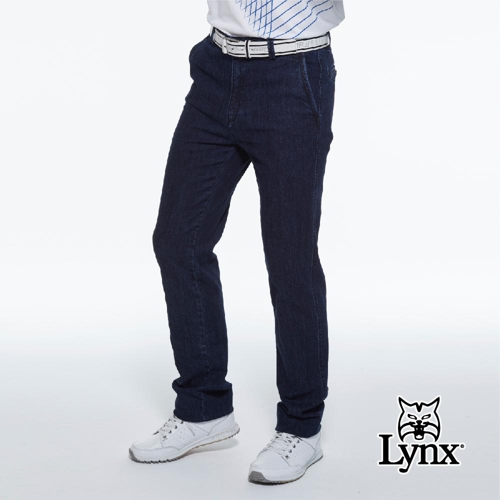 【Lynx Golf】男款彈性舒適後袋口造型設計丹寧牛仔褲平面休閒長褲-深藍色