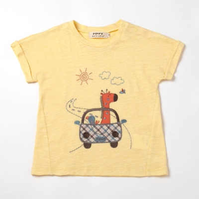 PIPPY長頸鹿車子刺繡T恤-黃