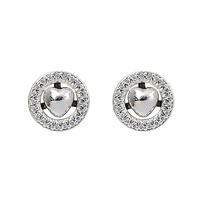 Pandora 潘朵拉 永恆之心鑲鋯 純銀耳環