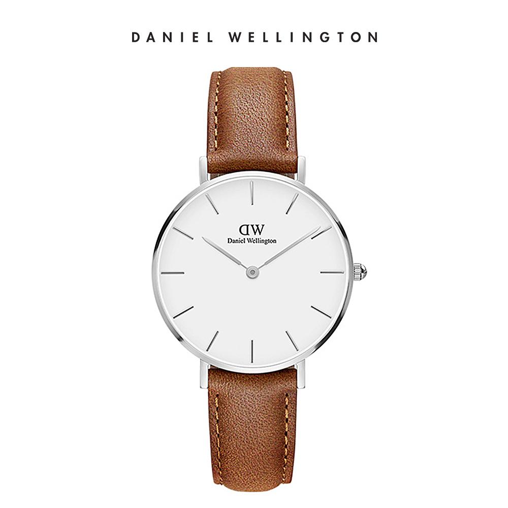 DW 手錶 官方旗艦店 32mm銀框 Classic Petite 淺棕真皮皮革錶