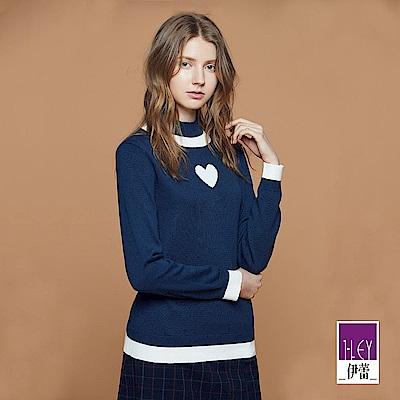 ILEY伊蕾 甜美愛心高領針織上衣體驗價商品(黑/藍)