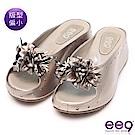 ee9 MIT經典手工手工花朵鑲鑽內增高平底拖鞋 銀色