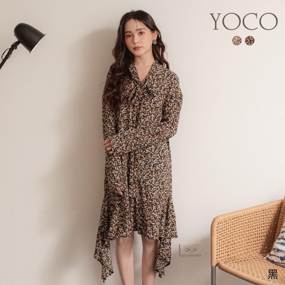東京著衣-YOCO 氣質女神小碎花綁結領不規則飄逸洋裝