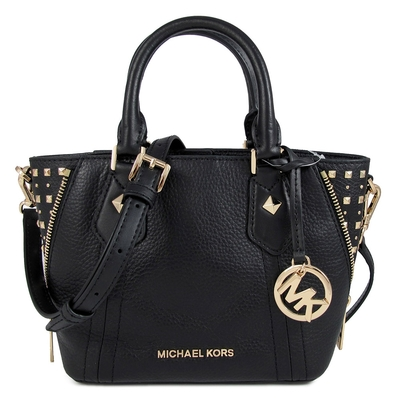 MICHAEL KORS ARIA 金字Logo鉚釘配飾全皮革小兩用包(黑色-小)