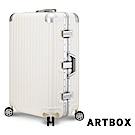 【ARTBOX】冰封奧斯陸 29吋 平面凹槽海關鎖鋁框行李箱(白色)