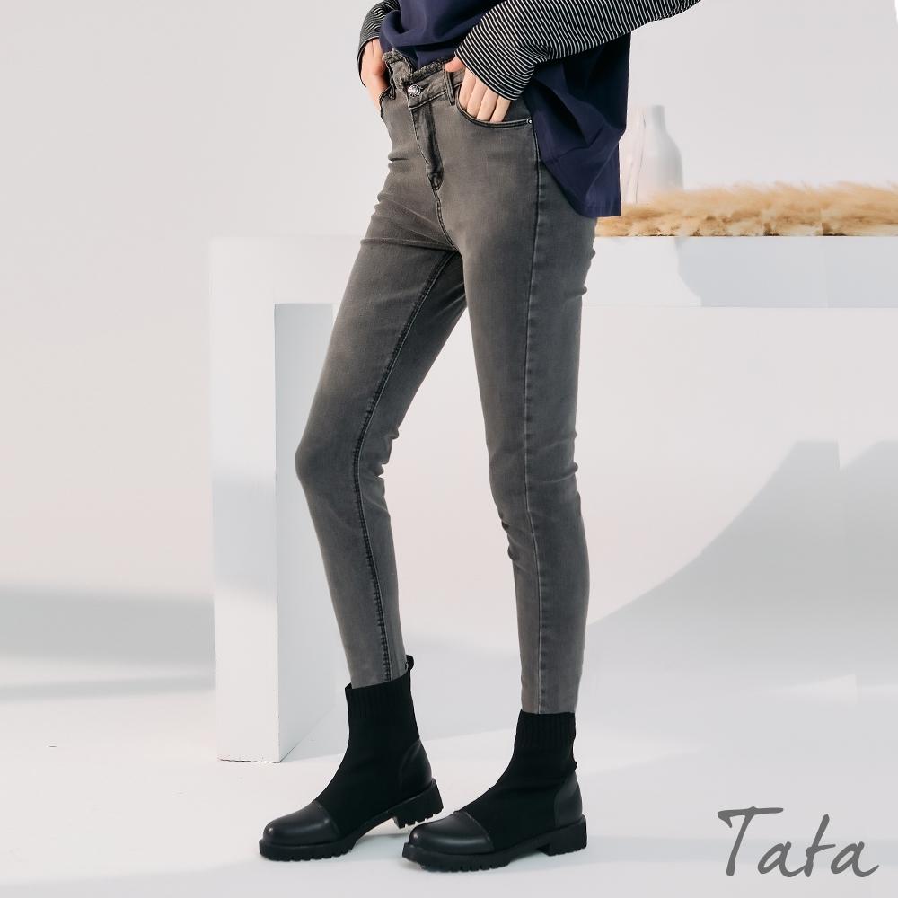 不對稱抽鬚腰頭合身長褲 TATA-(S~XL) (灰色)