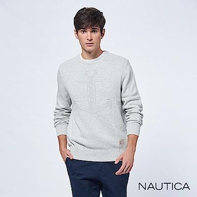 Nautica立體船錨素色長袖針織衫-淺灰