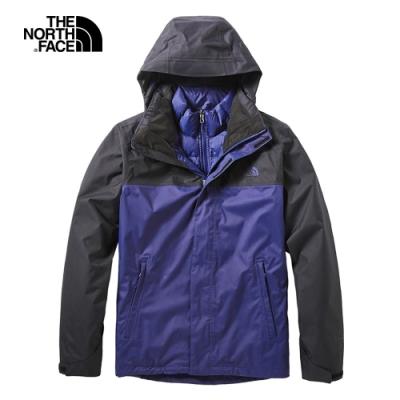 The North Face北面男款藍色防水保暖戶外三合一外套 3CGMQZ1