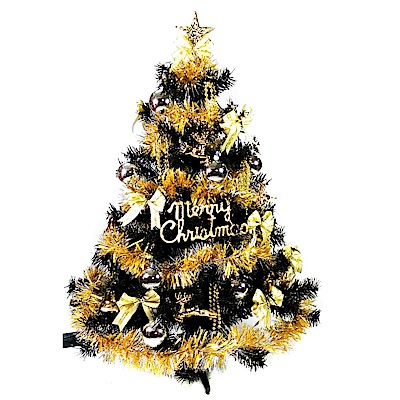 摩達客 3尺(90cm)豪華型裝飾黑色聖誕樹(金銀色系配件)(不含燈)