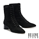 短靴 HELENE SPARK 復古時髦綁帶尖頭彈力麂布粗高跟短靴-黑 product thumbnail 1