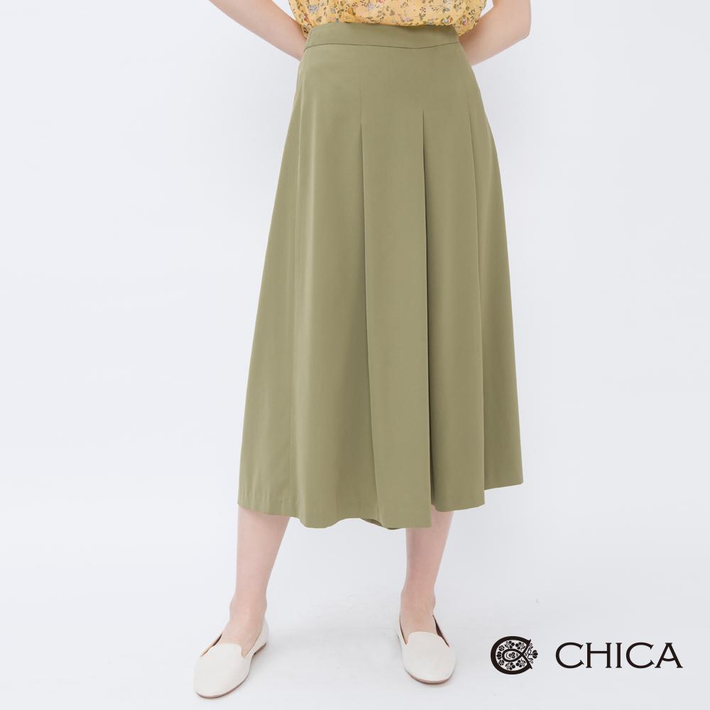CHICA 復古優雅百褶設計純色寬褲(2色)