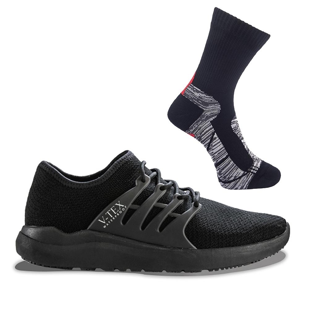【V-TEX】地表最強 時尚針織耐水防水鞋+防水襪S號特惠組(黑武士-女)
