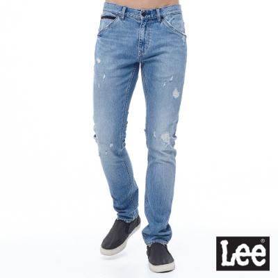 Lee 牛仔褲 709 低腰合身小直筒 男 淺藍 彈性 多破壞設計