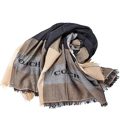 COACH  新款輕薄保暖舒適方型圍巾/披肩-米/黑