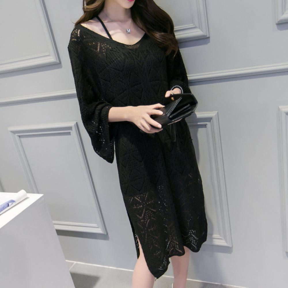La BellezaV領菱形針織鏤空洞洞側開叉罩衫洋裝