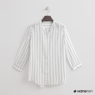 Hang Ten - 女裝 - 小立領經典直條紋襯衫 - 白