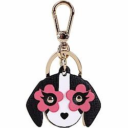 FURLA VENUS 黑粉色花眼小狗造型鑰匙圈(展示品)