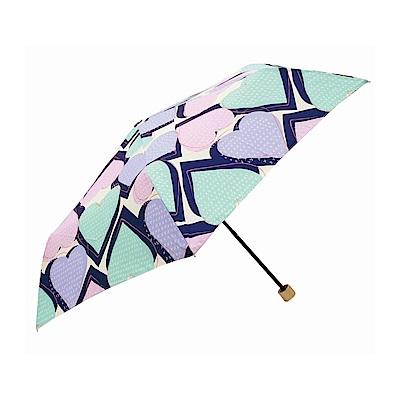 日本Prairiedog 晴雨兩用抗UV摺疊收納傘+多功能收納傘袋-心形(藍綠)