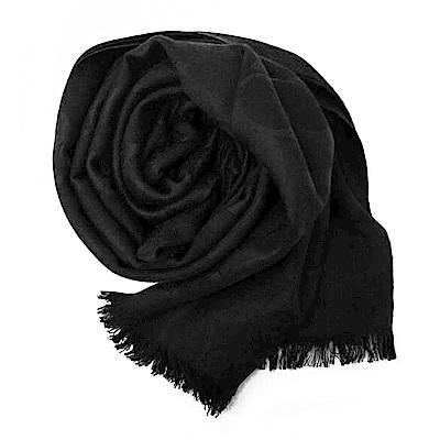 COACH 滿版LOGO羊毛混絲素色披肩圍巾 黑色