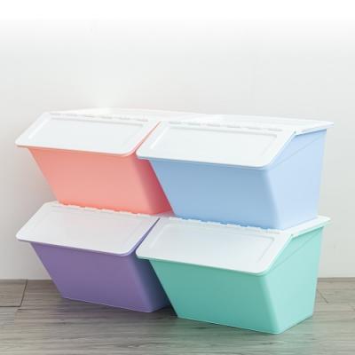 dayneeds 果凍掀蓋式可堆疊收納箱四入(混色)