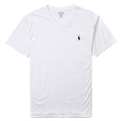 Polo Ralph Lauren 經典電繡小馬V領素面短袖T恤-白色