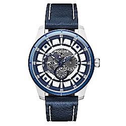 POLICE 重機械風格三眼皮革手錶-藍/47mm