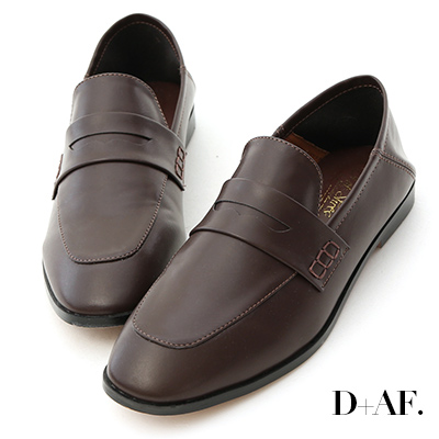 D+AF 百搭主角.經典款後踩式二穿樂福鞋*咖