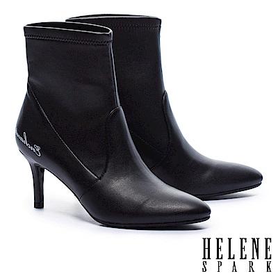 襪靴 HELENE SPARK 率性時尚標語宣示羊皮彈力襪靴-黑