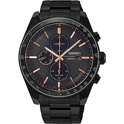 SEIKO精工Criteria時刻三眼太陽能腕錶橘咖V176-0AZ0O/SSC733P1