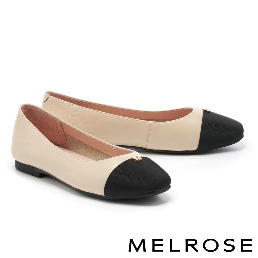 平底鞋 MELROSE 質感撞色M字釦牛皮娃娃平底鞋-米