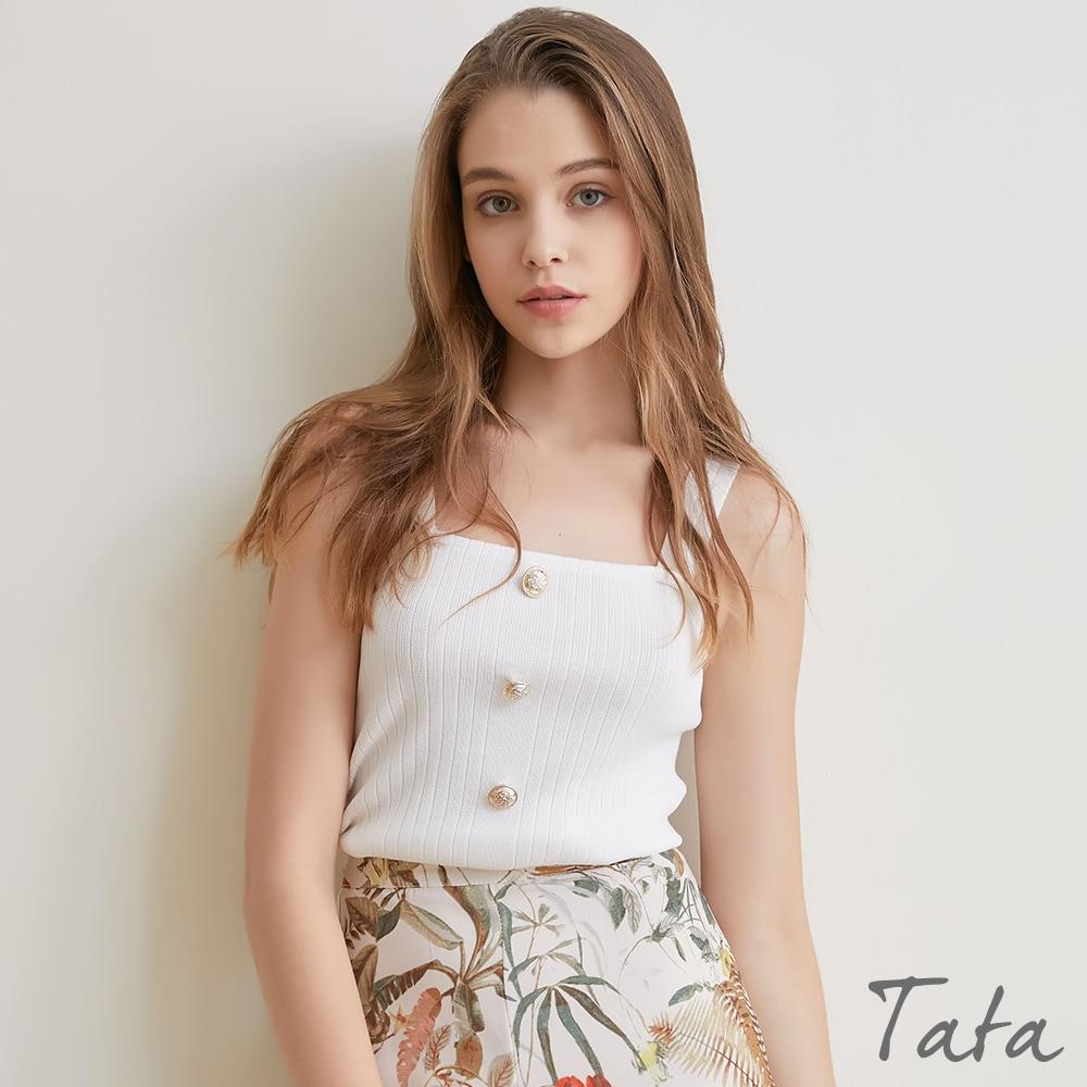 豎條紋裝飾釦短版針織背心 共二色 TATA-F