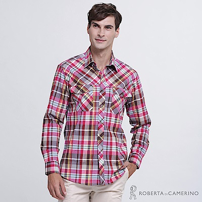 ROBERTA諾貝達 台灣製 合身版 經典格紋 純棉休閒長袖襯衫 棗紅