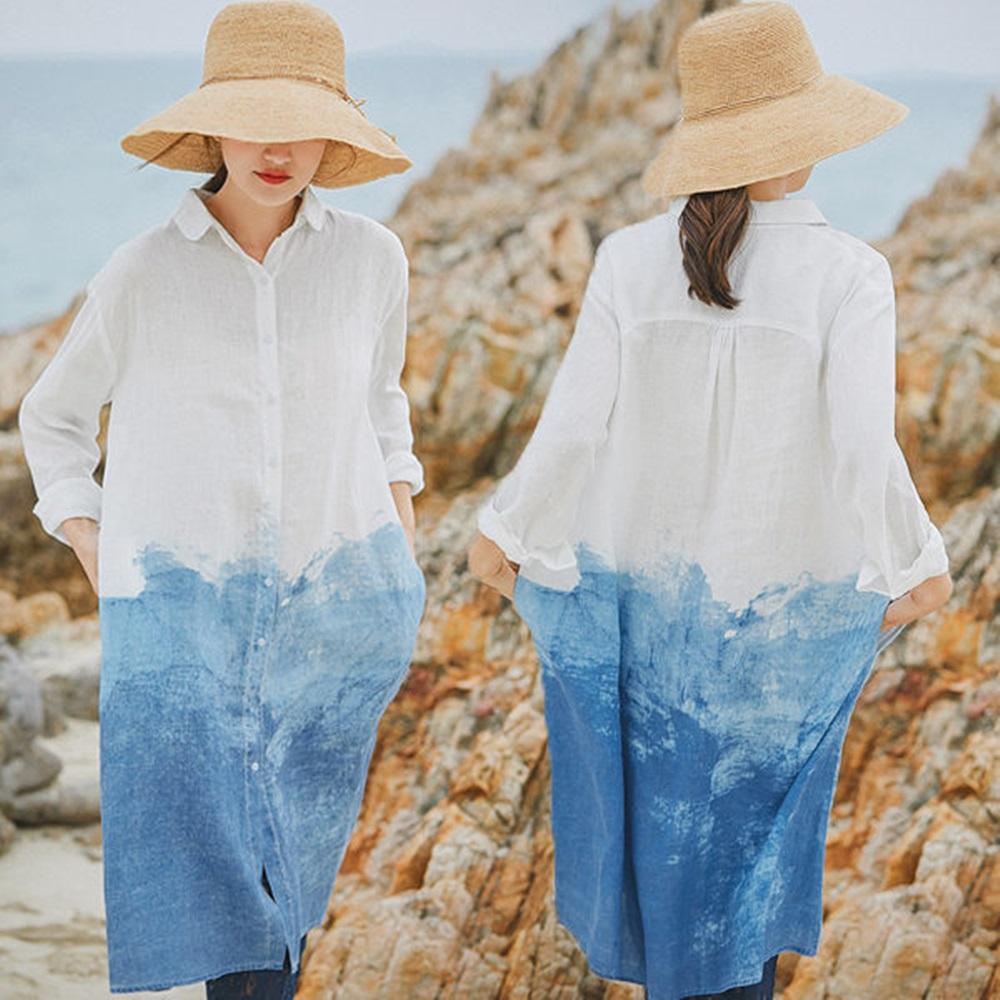 定位水墨印花亞麻襯衫裙中長版洋裝-設計所在