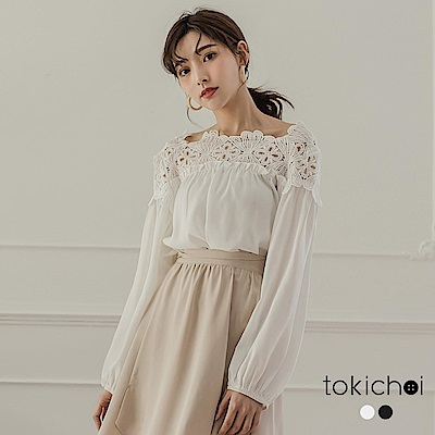 東京著衣 浪漫唯美蕾絲拼接上衣(共二色)