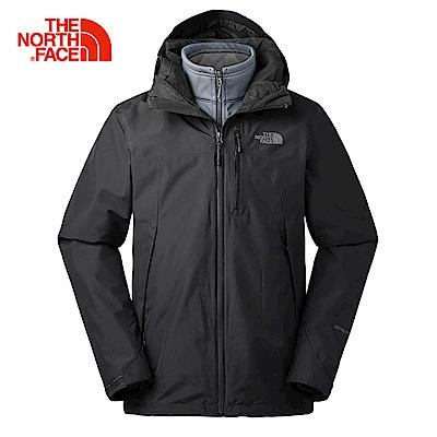 The North Face北面男款黑色防水透氣三合一外套|3KTCKX7