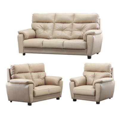 綠活居 印第安那   現代米色透氣皮革沙發椅組合(1+2+3人座組合)-197x93x104cm免組
