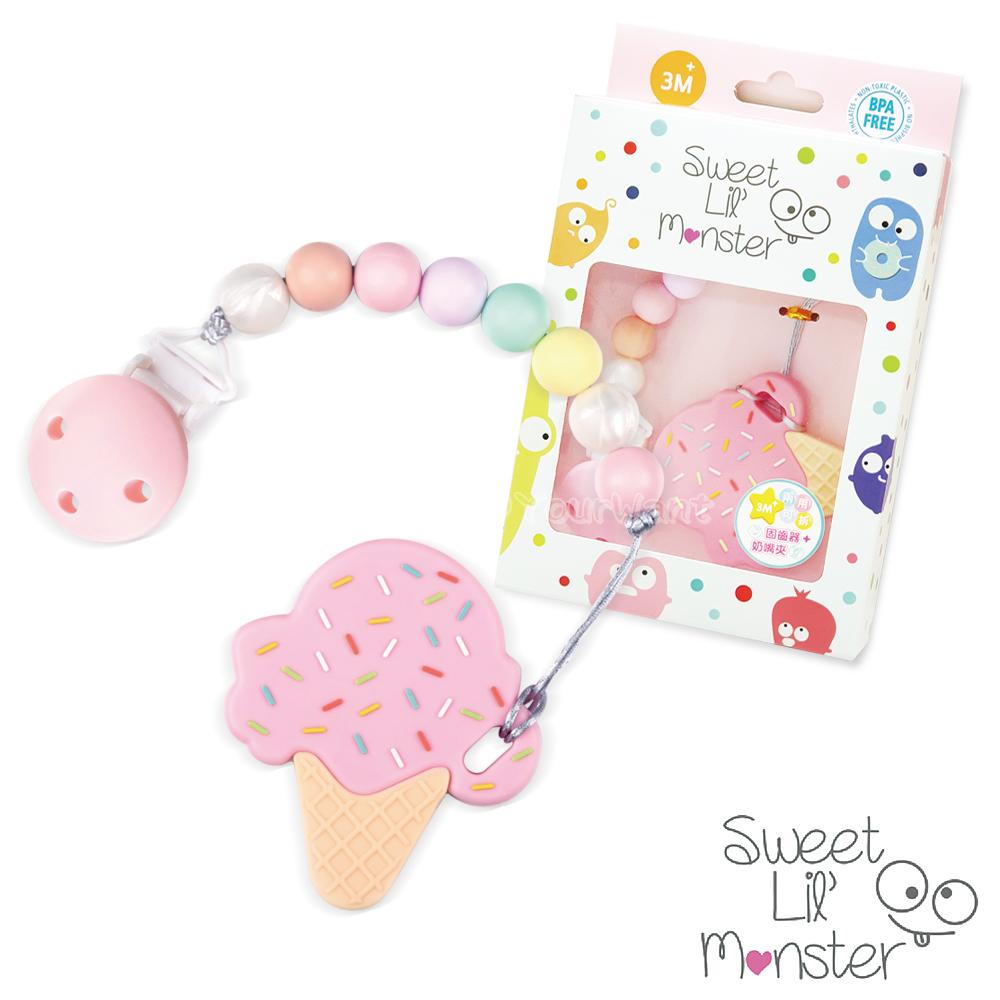 【Sweet Lil Monster】草莓棉花糖冰淇淋固齒器/奶嘴鍊